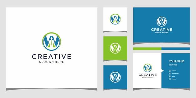 W-logo für gesunde physiotherapie mit visitenkartenvorlage Premium Vektoren