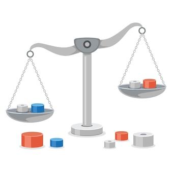 Waage der gerechtigkeit, gewichtsbalance