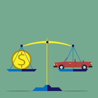 Waage mit auto- und golddollarmünze, flacher stil. autos, preise, markt, investitionen, hohes kostenkonzept. kopieren sie platz für ihren text. eps 10-vektor-illustration, keine transparenz