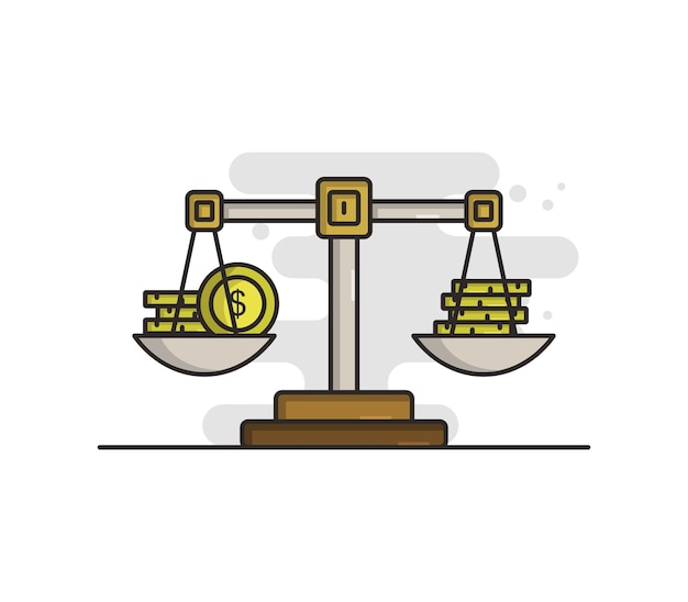 Waage mit illustriertem geld Premium Vektoren