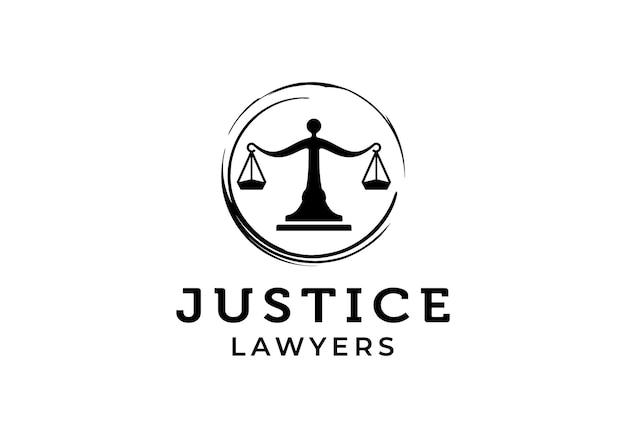 Waage mit kreis-zen. gesetz, anwälte, grenzenlose gerechtigkeit logo-design-vorlage inspiration
