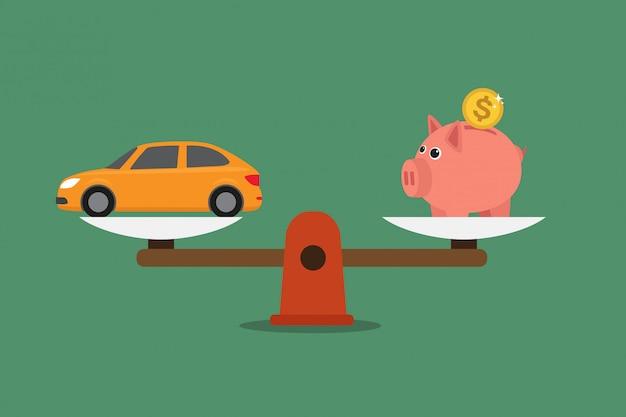Waage mit sparschwein und auto