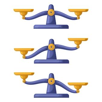 Waage skaliert unausgeglichen, gewichte balancieren gerechtigkeitskonzept. waage waage skaliert symbole vektor-illustration-set. unausgeglichene waagen. vergleichen, wiegen und messen, gleich der gerechtigkeit