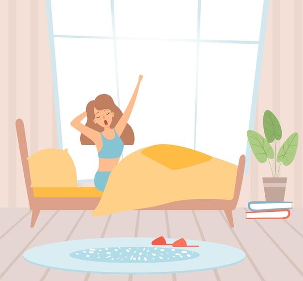 Wach auf mädchen. frau im bett gähnend. sonniger morgen, beginnen sie die vektorillustration des guten tages. schlafzimmer und wacher junger mensch, ruhemorgen