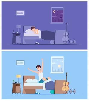 Wach auf, mann. freudige glückliche morgen schlafende männliche person, die sich im schlechten sitzen auf friedlichen charakteren der matratze ausdehnt