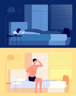 Wach auf, mann. schlafjunge, ruhender kerl, nachdem er im morgendlichen frischen zimmer geschlafen hat. flaches schlafzimmer, frühes aufwachen und gähnende personenvektorillustration. schlafe junge und steh früh im schlafzimmer auf