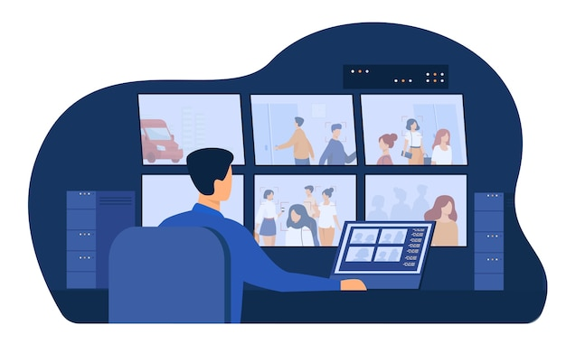 Wachdienstmann sitzt am bedienfeld und schaut sich überwachungskamera-videos auf monitoren im cctv-kontrollraum an. vektorillustration für sicherheitssystemarbeiter, spionage, überwachungskonzept