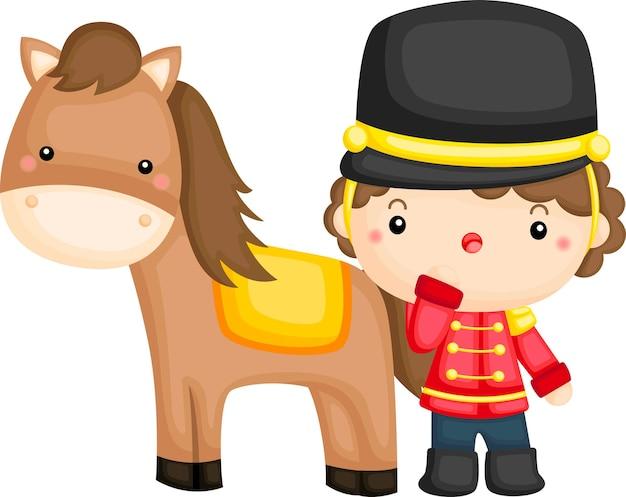 Wache und sein pferd Premium Vektoren