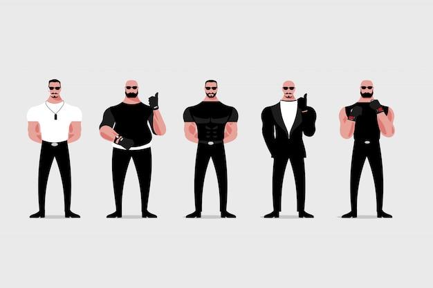 Wachmann oder türsteher im schwarzen anzug und in der sonnenbrille