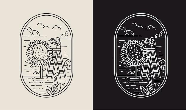Wachsen sie mit sonnenblumen-monoline-illustration