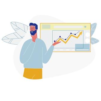 Wachsende datenanalyse-diagramme der geschäftsmann-show