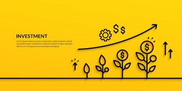 Wachsende geschäftsfinanzierung der investitionsfahne