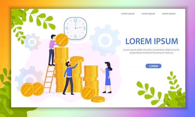 Wachsende investitionsvorhaben-flache vektor-website