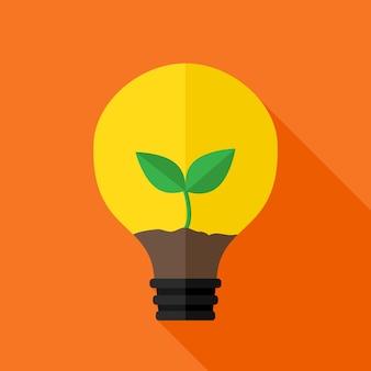 Wachsende pflanze in der ideenlampe. flaches stilisiertes objekt mit langem schatten