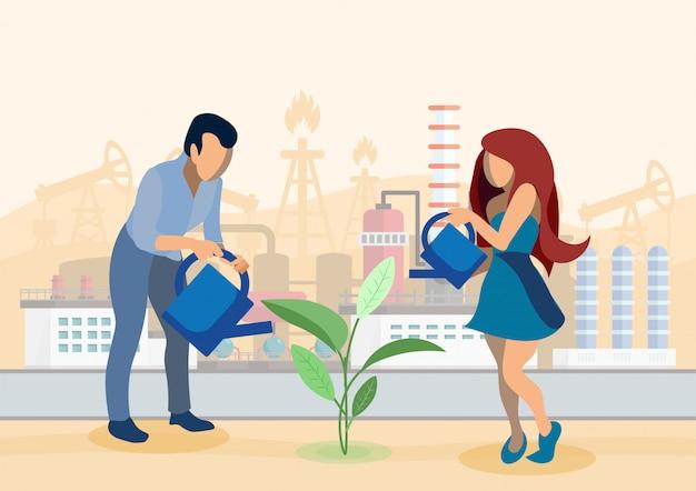 Wachsende pflanzen in der industriezone illustration