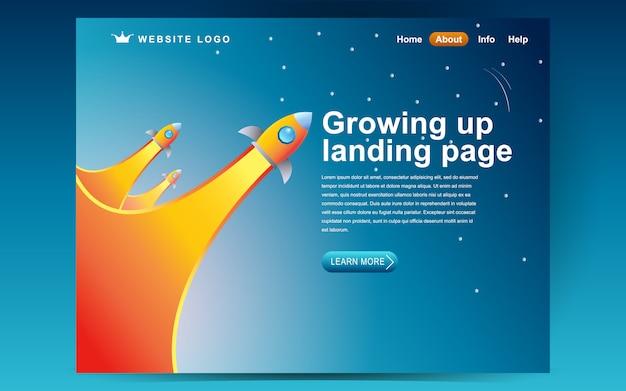 Wachsende start-up-template-design. illustrationskonzept der landing page
