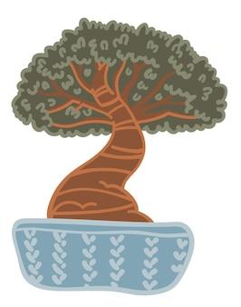 Wachsender bonsai-baum im topf, topfpflanze mit breitem stamm und laub. isolierte pflanze, die in vase wächst. japanische und orientalische kultur, biodiversität und grüne zimmerpflanze. vektor im flachen stil