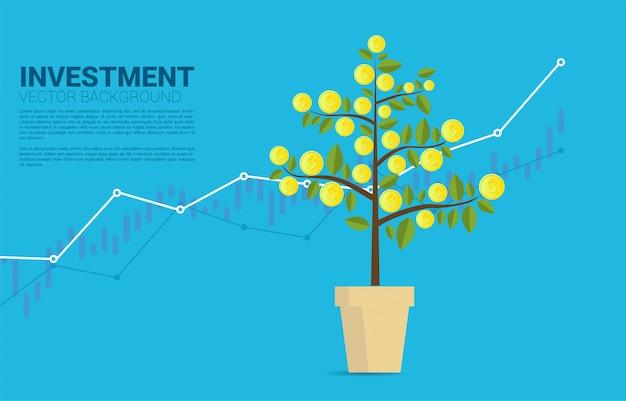 Wachsender geldbaum mit münzen- und diagrammhintergrundschablone