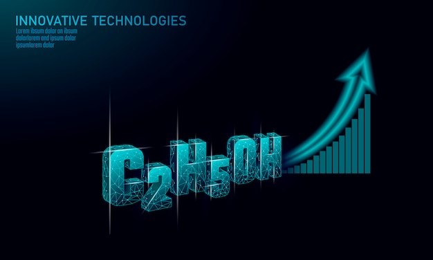Wachsender trend der ethanolformel-biokraftstoffindustrie. ökologie wissenschaft c2h5oh öko-konzept grafik. erneuerbare bioraffinerie organisches gas 3d machen polygonale innovationstechnologie illustration