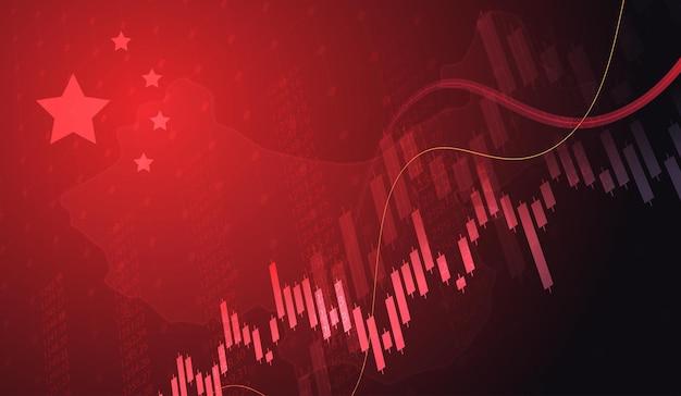 Wachsendes diagramm vor dem hintergrund des kerzendiagramms der chinesischen flagge börse