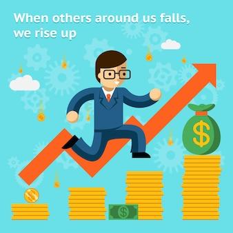 Wachsendes geschäft im finanzkrisenkonzept. wirtschaft und geld, münze und erfolg. wenn andere fallen, erheben wir uns. vektorillustration