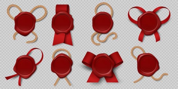 Wachssiegel. realistische zertifikatsstempel mit bändern und seilen, mittelalterliche königliche umschlagetiketten 3d. illustration leere rote wachssiegel grafische historische briefschablone