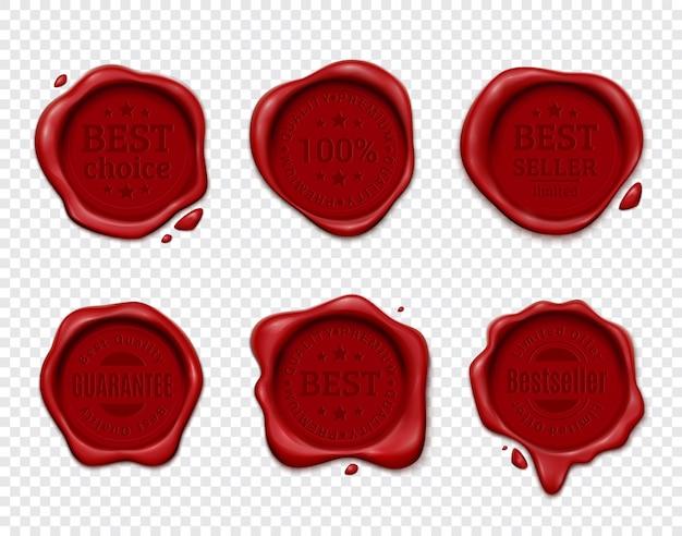 Wachsstempelprodukt-anzeigensatz mit sechs lokalisierten oblaten auf transparentem mit schattenbildtextemblemen