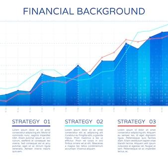 Wachstum diagramm wirtschaftskonzept. finanzmarkthintergrund des statistikgeschäftsdiagrammvektors. aktienwirtschaftliche info-diagrammillustration