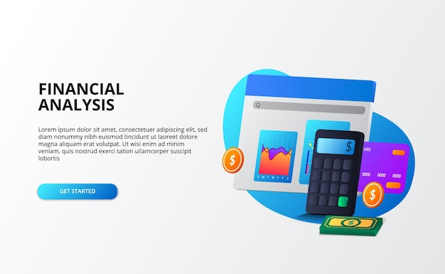 Wachstum marktwirtschaft, analyse und prüfung sowie beratung finanzgeschäftskonzept. 3d-rechner, münze, geld, grafik, kreditkarte für landingpage-vorlage