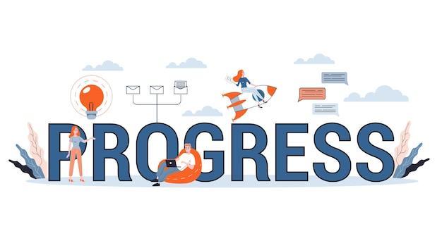 Wachstums- und fortschrittskonzept. idee der finanzsteigerung und des geschäftserfolgs. pfeil zeigt als symbol des gewinns. illustration