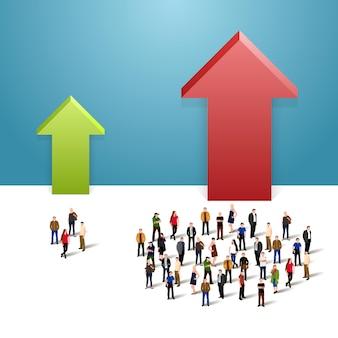 Wachstumsdiagramm und fortschritt in der menschenmenge. vektor-illustration