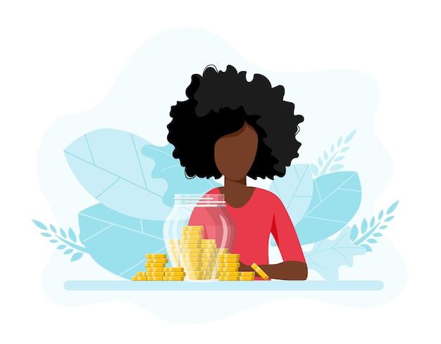 Wachstumseinkommen sparanlage mädchen mit glas voller geld geld sparen money