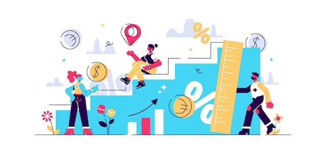 Wachstumsillustration. flaches winziges erhöhtes wirtschaftliches personenkonzept. prozentuale messung des realen bruttoinlandsprodukts. erfolgreiche geschäftsmanagement-gewinnmanagement- und entwicklungsstrategie.