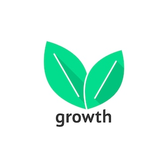 Wachstumslogo mit grünen blättern. konzept der visuellen identität, agronomie, landwirtschaft, laub, spa-salon-marke. isoliert auf weißem hintergrund. flacher stil trend moderne blatt logo design vector illustration