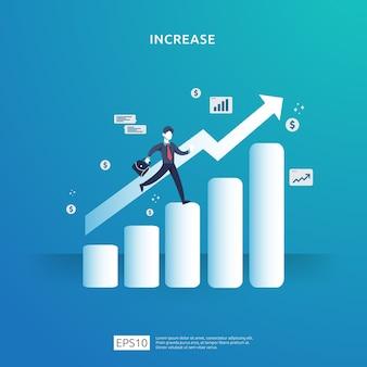 Wachstumspfeil-illustrationskonzept für einkommenssteigerungserhöhung mit personencharakter.