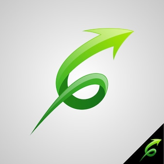 Wachstumssymbol mit buchstabe g-konzept und pfeil nach oben zeigend