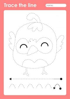 Wachtel - linienvorarbeitsblatt für kinder zum üben von feinmotorik