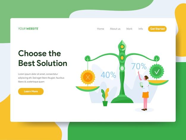 Wählen sie die beste lösung für die website-seite