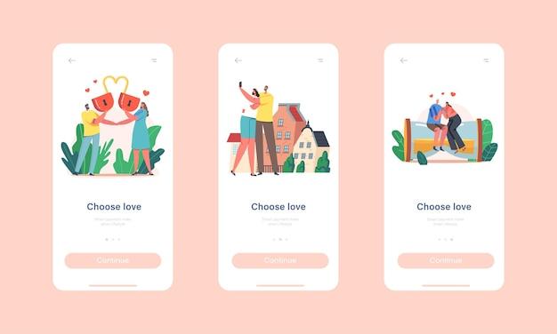 Wählen sie die onboard-bildschirmvorlage für die love mobile app-seite. liebevolle charaktere mit herzschloss, sitzen auf einer riesigen sanduhr, dating