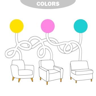 Wählen sie eine farbe aus und bemalen sie den stuhl in der richtigen farbe. malbuch für kinder