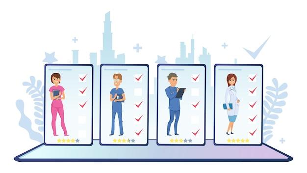 Wählen sie einen arzt. online-ranking der ärzte. vektor medizinisches personal, online-diagnose-app. medizinische online-umfrage der illustration, frauen- und mannrangliste