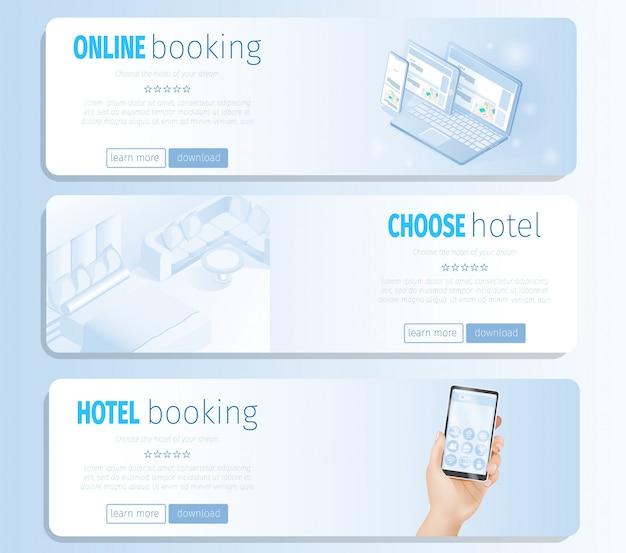 Wählen sie online vorlage für hotelbuchungsraum-vektor-banner