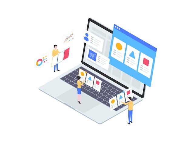Wählen sie produkt isometrische illustration. geeignet für mobile apps, websites, banner, diagramme, infografiken und andere grafische elemente.