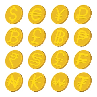 Währungsikonen eingestellt in die karikaturart lokalisiert