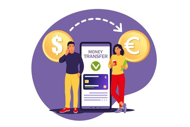 Währungsumrechnungskonzept. benutzer mobiler banken, die geld überweisen. online-zahlung .. isolierte wohnung.