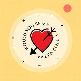 Wären sie mein valentinsgruß mit gelbem hintergrund und herzen
