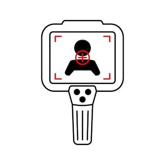 Wärmebildkamera. körpertemperaturkontrolle durch infrarot-thermografiekamera. wärmebildsysteme. scannen sie die temperatur von personen. erkennung des coronavirus. fieber messen. vektor isoliert