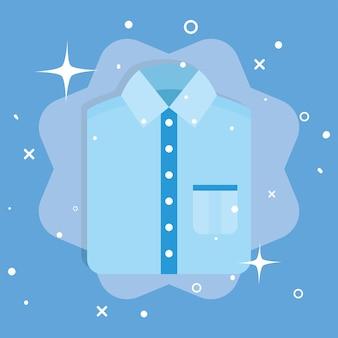 Wäsche blaues hemd auf blauem hintergrund