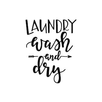 Wäsche waschen und trocknen auf handgezeichnetem typografieplakat