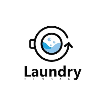 Wäsche-waschmaschinen-logo mit kreis für ihr wäscherei-business-symbol